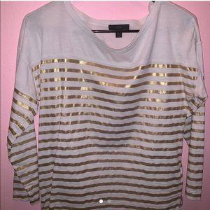 j.crew gold / white striped shirt